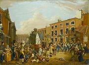 unknow artist Oil on canvas painting depicting the ancient custom of rushbearing on Long Millgate in Manchester in 1821 painting